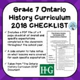 Grade 7 ONTARIO HISTORY CURRICULUM 2018 EXPECTATIONS CHECKLIST
