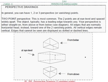 Grade 7 UNIT: Perspective Drawing (4 worksheets & 7 quizzes)