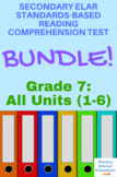 Grade 7 Prentice Hall Lit. Units 1-6 Reading Tests Bundle (76 total)