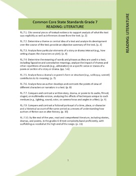 Grade 7 Reading: Literature Common Core Question Stems and Annotated Standards
