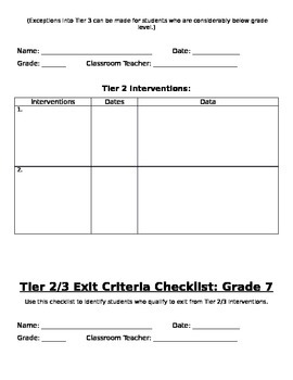 Grade 7: RtI Tier 2 & 3 Placement/Exit Criteria Checklists