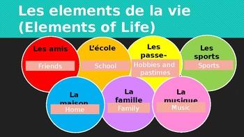 """Grade 7 (SK Level 6) My Photo Album Unit """"Les elements de la vie"""" PowerPoint"""