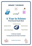 Grade 7 Science FULL YEAR of Wordsearch Puzzles ALL AREAS 115 Pages
