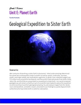 Grade 7 Science Planet Earth Project: Geological Expedition to Sister Earth