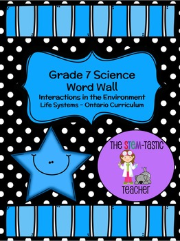 Grade 7 Science Word Wall - Life Systems (Interactions in