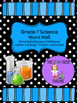 Grade 7 Science Word Wall - Matter & Energy (Pure Substances and Mixtures)