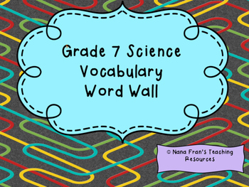 Grade 7 Science Word Wall Vocabulary Cards