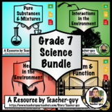 Grade 7 Bundle: Interactions, Pure Substance, Mixtures, Form, Function, Heat