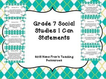 Grade 7 Social Studies I Can Statement Posters - Saskatchewan