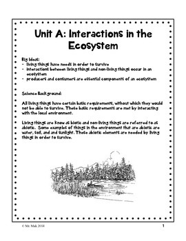 Grade 7 Unit A Interactions in the Environment - student workbook