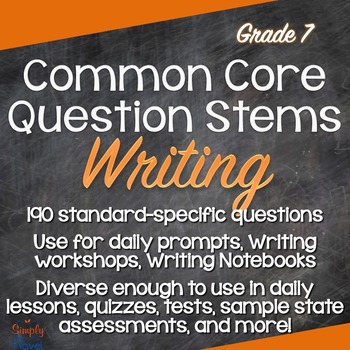 Grade 7 Writing Common Core Question Stems and Annotated S