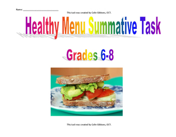 Grade 7 and 8 Health - Healthy Menu Summative Task