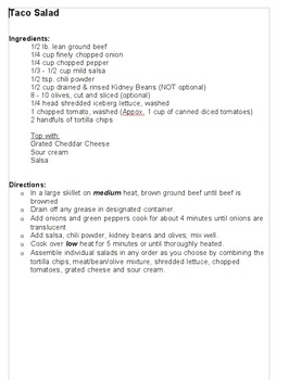 Grade 7 friendly recipes with 60 minute class