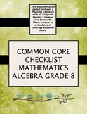 Grade 8 Algebra Common Core Checklist