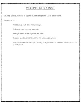 CCSS Argumentative Writing - Cell Phone Use in Classrooms