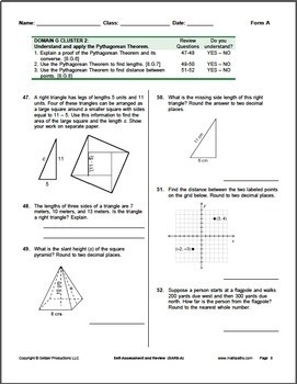 Grade 8 CCSS Math Self-Assessment and Review Packet ~ Form A