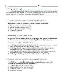 Grade 8 Common Core Language: Editing & Revising Practice #1