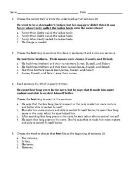 Grade 8 Common Core Language: Editing & Revising Practice FREE SAMPLE