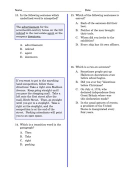 Grade 8 Common Core Language and Writing Practice #1