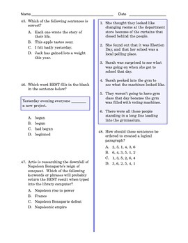Grade 8 Common Core Language and Writing Practice #4