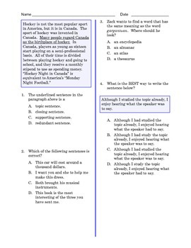 Grade 8 Common Core Language and Writing Practice #6