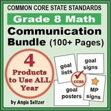 Grade 8 Common Core Math Communication Bundle (Posters, Goal Signs, Checklists)