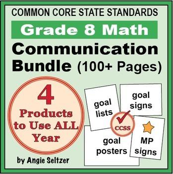 Grade 8 Common Core Math Communication Bundle (Posters, Goal Signs, Checklists)