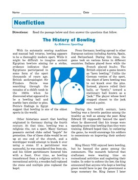 Grade 8 Common Core Reading: Informational Text --The History of Bowling