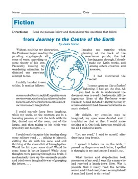 Grade 8 Common Core Reading: Journey to the Centre of the Earth