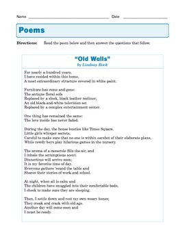 """Grade 8 Common Core Reading: Poetry - """"Old Walls"""""""