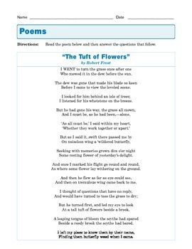 "Grade 8 Common Core Reading: Poetry -  ""The Tuft of Flowers"" by Robert Frost"