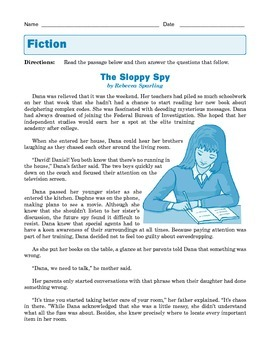 Grade 8 Common Core Reading: The Sloppy Spy