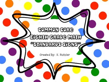Grade 8 Common Core Standards Posters.