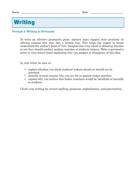 Grade 8 Common Core Writing Prompt - Argumentative Essay: Locker Searches