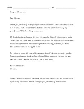 Grade 8 Common Core Writing Prompt - RSVP Letter to a Friend