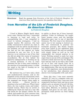 Grade 8 Common Core Writing Prompt - Responding to Text: Frederick Douglass