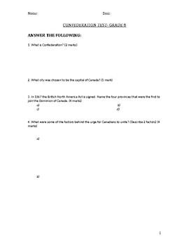 Grade 8 Confederation Test