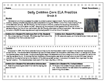 Grade 8 Daily Common Core Reading Practice Week 17 {LMI} A