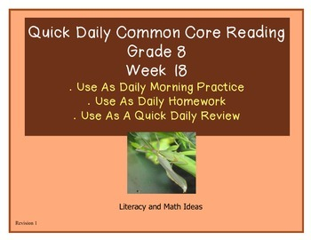 Grade 8 Daily Common Core Reading Practice Week 18 {LMI} A