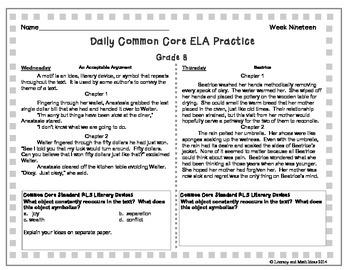 Grade 8 Daily Common Core Reading Practice Week 19 {LMI} A