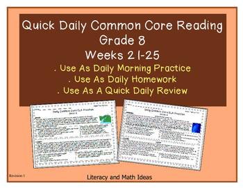 Grade 8 Daily Common Core Reading Practice Weeks 21-25 {LMI}