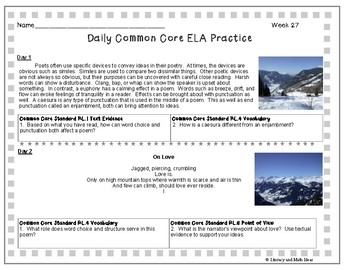 Grade 8 Daily Common Core Reading Practice Weeks 26-30