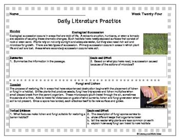Grade 8 Daily Literature Practice Weeks 21-25 {LMI}