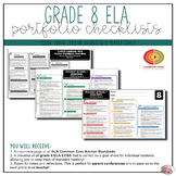 Grade 8 ELA Portfolio Checklists ~ CCSS Overview & Checklists