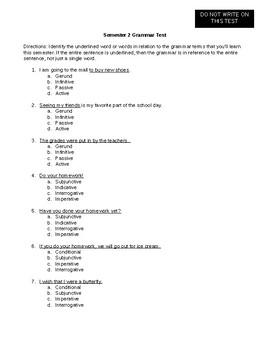 Grade 8 English Grammar Assessment