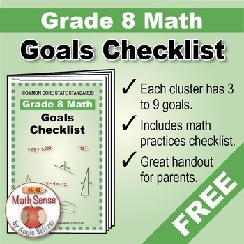 Grade 8 FREE Checklist of Math Goals for Common Core