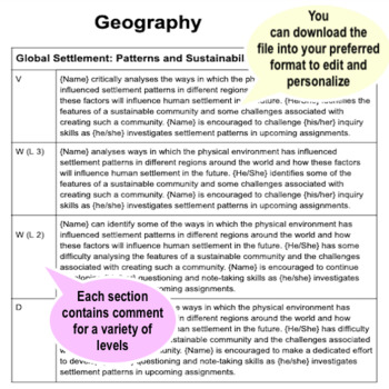 Grade 8 - Middle School - GEOGRAPHY - Report Card Comment Bank - Assessment