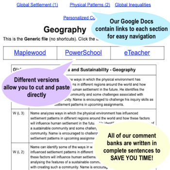 Grade 8 - Middle School - GEOGRAPHY - Report Card Comment Bank
