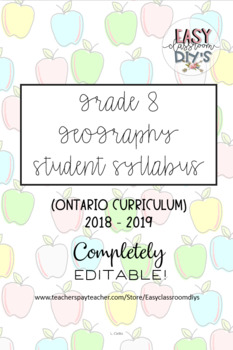 Grade 8 Geography Syllabus (Parent/Student) - Ontario Curriculum