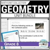 Geometry Unit Bundle: (Transformations & 2D/3D Shapes) Grade 8 Math Units